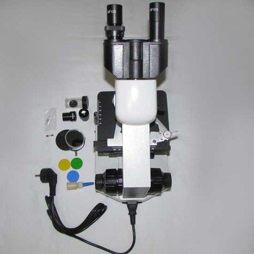 نمای بالایی میکروسکوپ 1600 برابر بیولوژی xsz-801bn بهمراه متعلقاتش