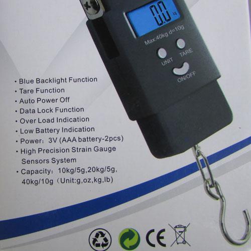 بک لایت و بسته بندی ترازوی دیجیتال قلابدار با قابلیت وزن 40 کیلوگرم