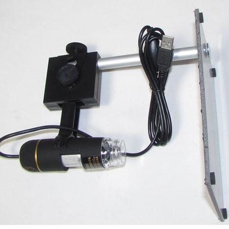 نمای بغل لوپ دیجیتالی نصب شده بروی پایه مربوطه وکابل usb همراه