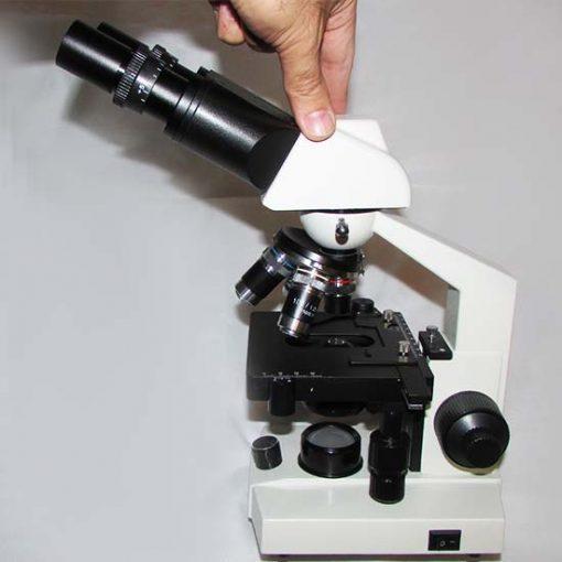 نمای پهلو راست میکروسکوپ 1600 برابر بیولوژی دو چشمی مدل Ke-20
