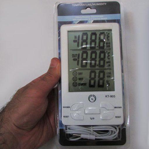 بسته بندی دماسنج و رطوبت سنج دیجیتال سه خانه دارای سنسور خارجی مدل KT905