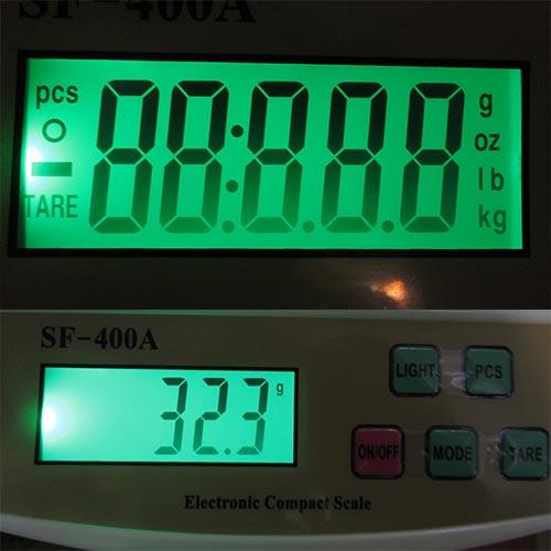 نمایی نزدیک از نمایشگر ترازوی دیجیتال electronic compact scale sf400a