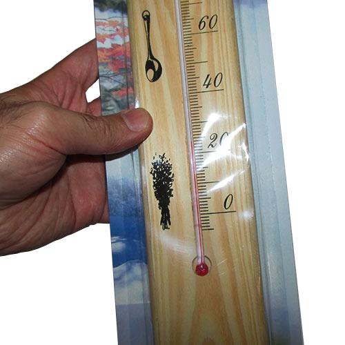 مشاهده بسته بندی دماسنج مخصوص سونا با بدنه چوبی و رنج دمای 0 تا 120 درجه سانتیگراد