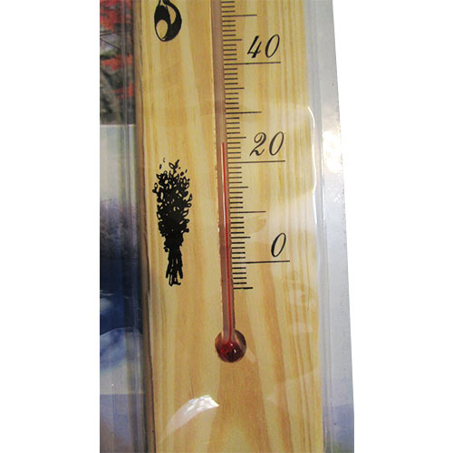 بخش پایینی دماسنج سونا با بدنه چوبی و رنج دمای 0 تا 120 درجه سانتیگراد