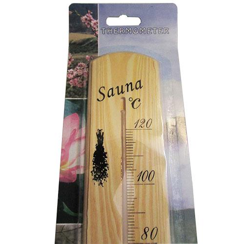 مشاهده درجه بندی و بخش بالایی دماسنج چوبی مخصوص سونا