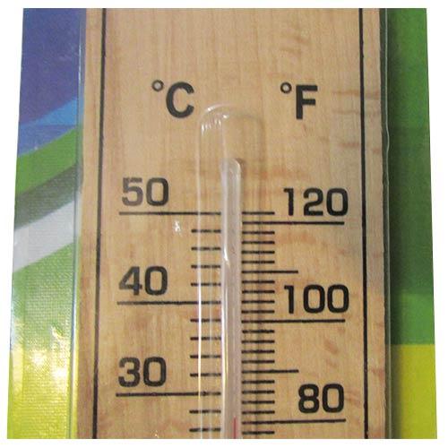 مشاهده درجه بندی بخش بالایی دماسنج چوبی دیواری ساده با طول 22 سانتیمتر