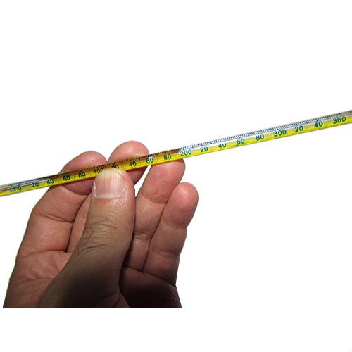 نمای درجات دماسنج جیوه ای میله ای با رنج دمایی -10 تا +360 درجه سانتیگراد