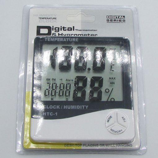 بسته بندی دماسنج دیجیتالی دارای رطوبت سنج و ساعت مدل HTC1
