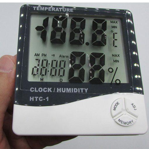 مشاهده ابعاد دماسنج دیجیتالی دارای رطوبت سنج و ساعت مدل HTC1